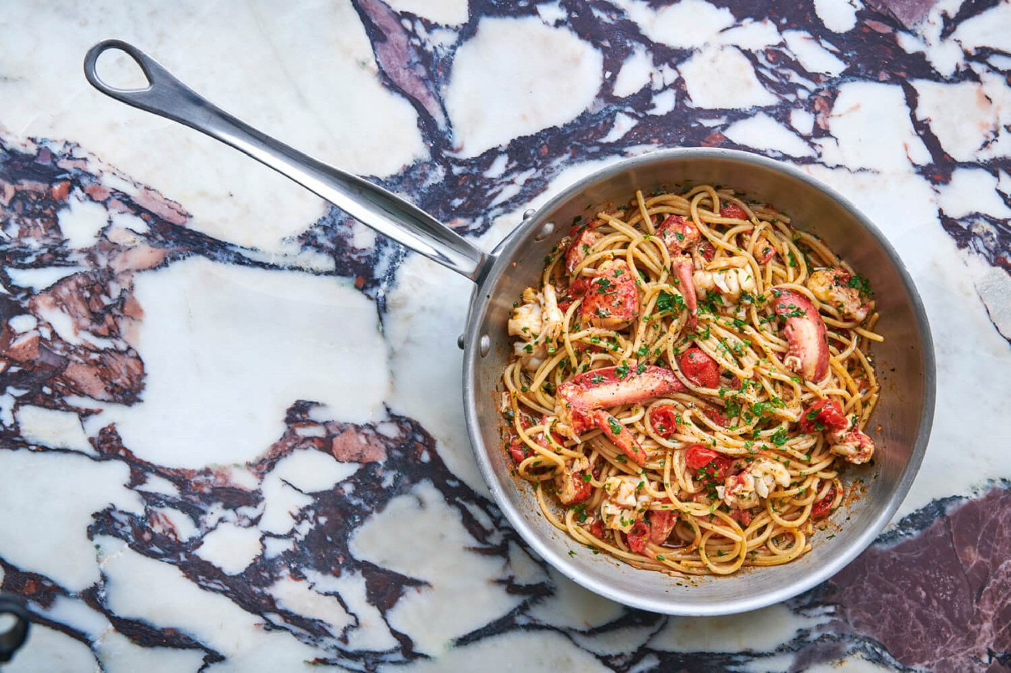 Spaghetti with lobster served at Italian restaurant Daphne's in Kensington